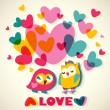 Owls love cartoon card — Image vectorielle