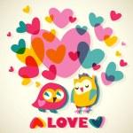 Owls love cartoon card — Stock Vector