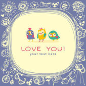 Owls cute greeting card and sample text. Template for design car — Stock Vector