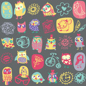 Owl seamless pattern on dark background. Hand drawn vector illus — Stock Vector