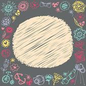 Marco de círculo doodle. regalo tarjeta y muestra el texto. fondo oscuro. — Vector de stock