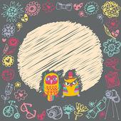Owls cute cartoon card and sample text. Dark background. Templat — Stock Vector