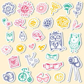 Set of stickers with owls and fashionable things. Heart, flower, — Stock Vector