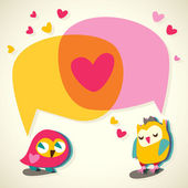 Love speech bubble with cute owl. — Vettoriale Stock
