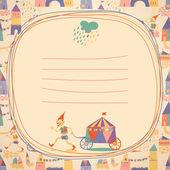 Doodle kare ve evleri ile sorunsuz çocuklar arka plan. yer — Stok Vektör