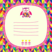 Owls doodle frame and triangles seamless background. Place for t — Stock Vector