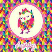 Owls greeting card and triangles seamless background. Hand drawn — Vector de stock