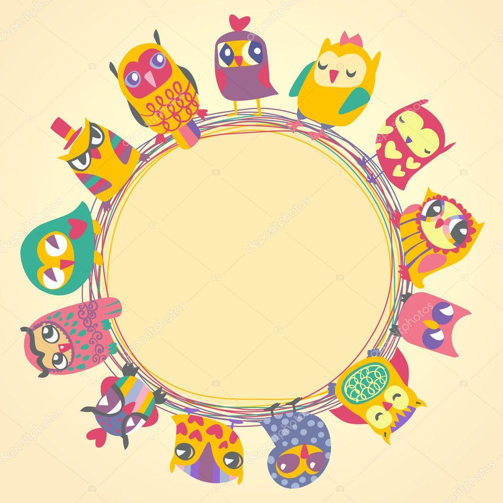 Cute Cartoon Owls Birthday PNG