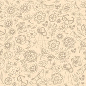 Vintage fashionable things seamless background. Heart, flower, b — Stock Vector