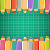 School background with pencils. Vector illustration. Place for t — Stock Vector