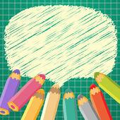 Bolhas do discurso de escola com lápis. ilustração vetorial. lugar f — Vetorial Stock