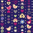 Heart bird flower seamless pattern on dark background. — 图库矢量图片