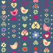 Heart bird flower seamless pattern on dark background. — Stock Vector