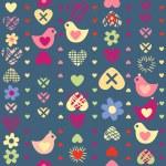Heart bird flower seamless pattern on dark background. — Stock Vector