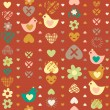 Heart bird flower seamless pattern on dark background. — Imagen vectorial