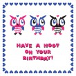 Owls cartoon greeting card. Birthday.  — Stock Vector