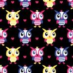 Owl Heart Seamless background — Stock Vector