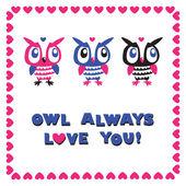Ugglor tecknade gratulationskort. kärlek. — Stockvektor