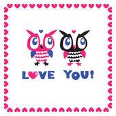Owls cartoon greeting card. Love. — Stock Vector