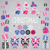 Boże narodzenie elementy wektor zestaw świąteczny projekt. — Wektor stockowy
