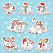 Snowman stickers. — Stock Vector
