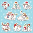 Stock Vector: Snowman stickers.