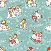 Snowman seamless pattern. — Stock Vector