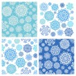 Snowflake background. Set of 19 isolated elements. Two Seamless — Stock Vector