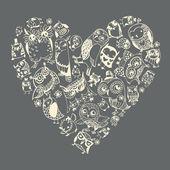 Καρδιά μοτίβο κουκουβάγιες. — Διανυσματικό Αρχείο
