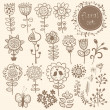 Flowers. Hand Drawn floral elements with birds and butterfly. — Vettoriale Stock  #35984969