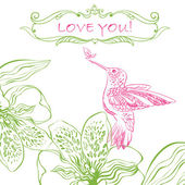 Love Greeting Card with Bird and Flowers. — Stock Vector