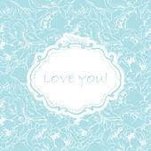 Carte d'invitation sur fond transparent fleur de l'amour. — Vecteur