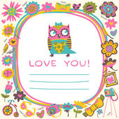 Owls Love cute background. Template for design cartoon greeting — Stock Vector