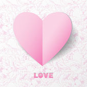 Paper Heart Love Card on Flower Background. — Stock Vector