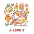 Owls Love background. — Stock Vector #39273099