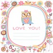Owls Love cute background. — Stock Vector