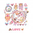 Owls Love background. — Stock Vector #39273567