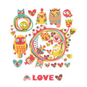 Owls Love background. — Stock Vector