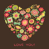 Love Heart made of flowers — Stock Vector
