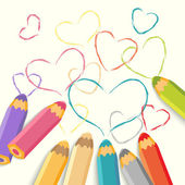 Color Pencils with Hearts. — Stock Vector