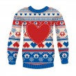 Illustration of warm sweater with owls and hearts. — Stock Vector