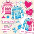 Set of winter love stickers with owl and heart. — Vector de stock