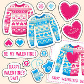 Set of winter love stickers with owl and heart. — Stock Vector