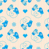 Winter Mittens Seamless Pattern — Stock Vector