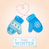Mittens. Happy Winter Illustration. — Vector de stock