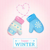 Mittens. Happy Winter Illustration. — Stock Vector