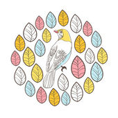 Birds and leaves. — Stock Vector