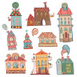 Set of outline hand drawn buildings in vintage style — Stock Vector #42315711