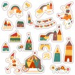 Vintage colorful houses. — Stock Vector