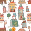 Seamless hand drawn buildings in vintage style. — Stock Vector